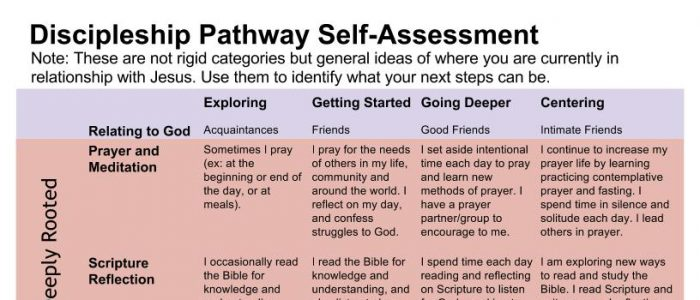 discipleship pathway self-assessment chart